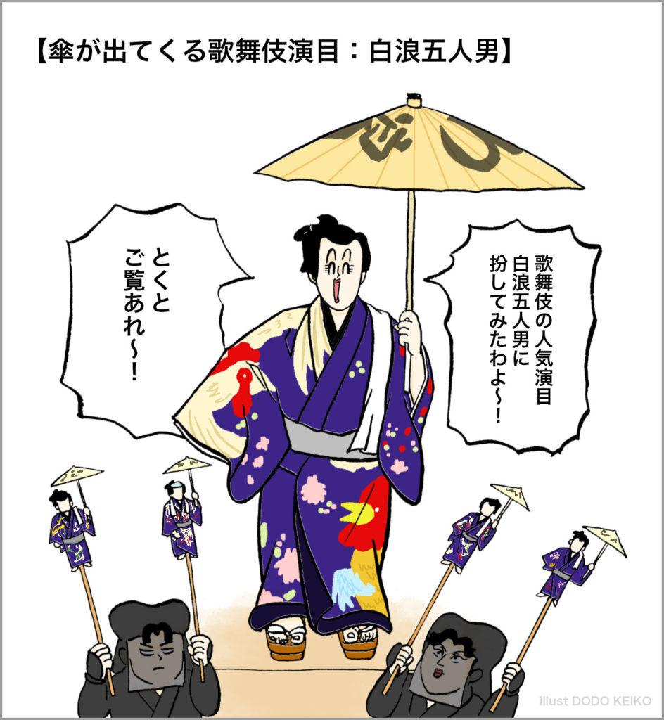 江戸,江戸イラスト,江戸歌舞伎,江戸歌舞伎イラスト,白浪五人男,傘,着物,