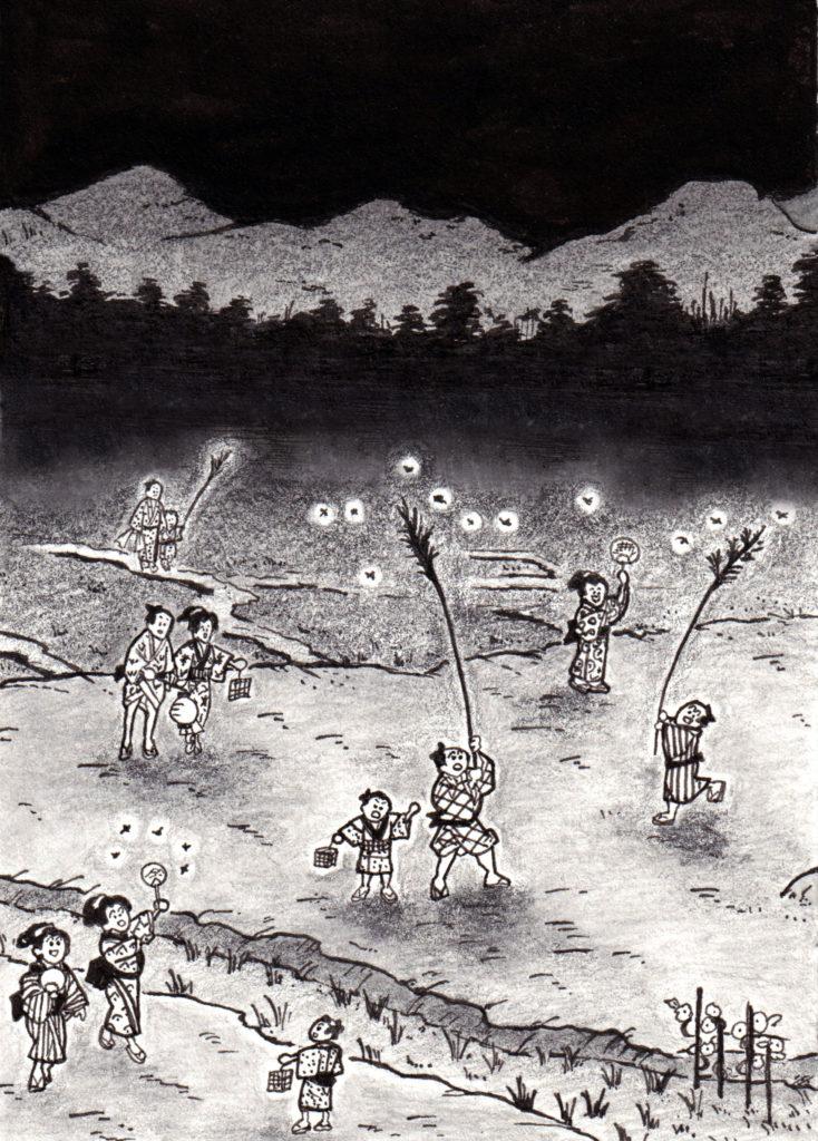 蛍狩り,ホタル狩り,江戸,江戸時代,時代小説,時代小説挿絵,時代小説イラスト,