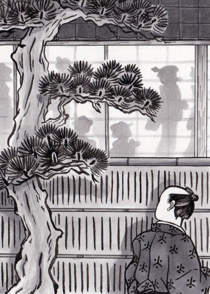 戸,江障子,障子イラスト,影,江戸時代,時代小説,時代小説挿絵,時代小説イラスト,