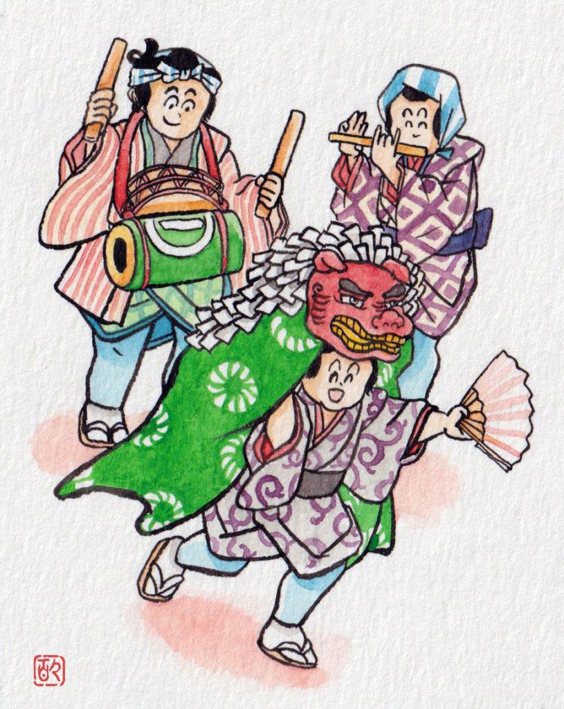江戸正月,太鼓,笛,獅子舞,町人,お囃子,江戸子ども,